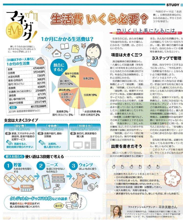読売中高生新聞30日号マネガクゲラ 7月30日