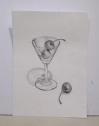 川辺静グラスとさくらんぼA4鉛筆デッサン